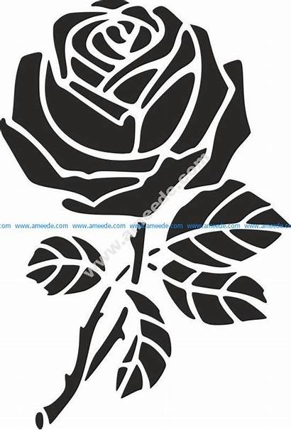 Dxf Rose Stencil Vector Cnc Flower 3axis