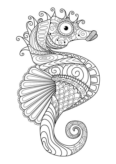 hand drawn sea horse zentangle style  coloring paget shirt design effectlogo tattoo