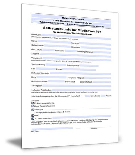 Selbstauskunft Wohnung Formular by Selbstauskunft F 252 R Mietbewerber Wohnung