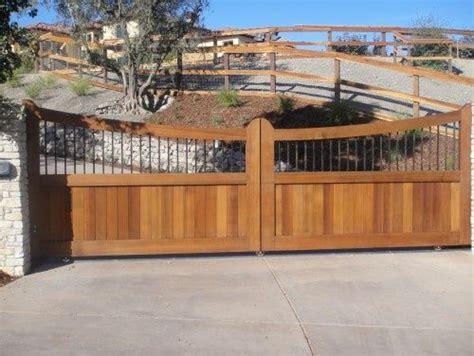 wood  metal driveway gate beautiful