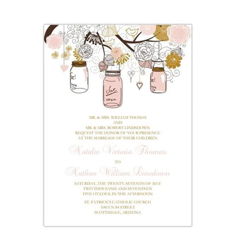 rustic mason jars wedding invitation blush pink gold