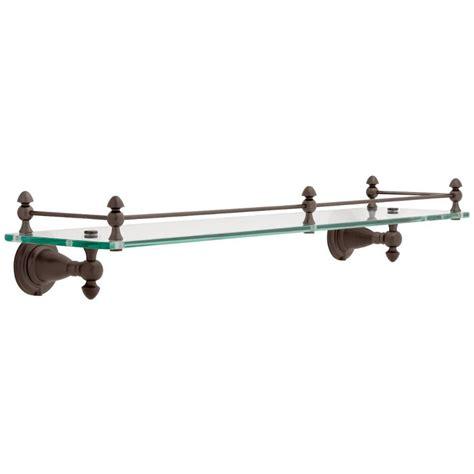 Delta Bathroom Glass Shelf by Delta 20 In Glass Bathroom Shelf With Rail In