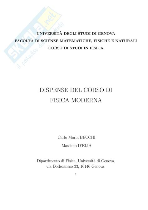 Fisica Dispense by Fisica Moderna Appunti