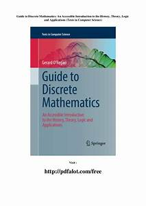 Guide To Discrete Mathematics An Accessible Introduction