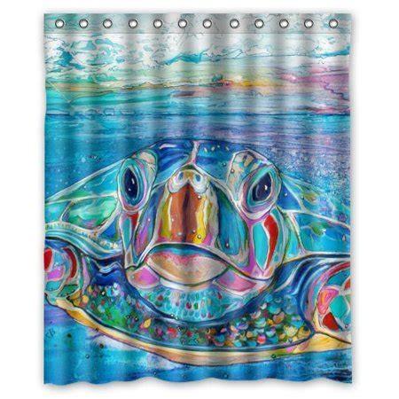 greendecor sea turtle waterproof shower curtain set with