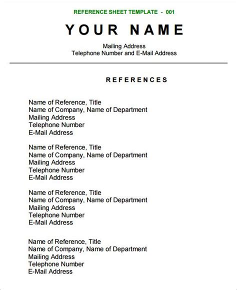 reference sheet template resume references reference
