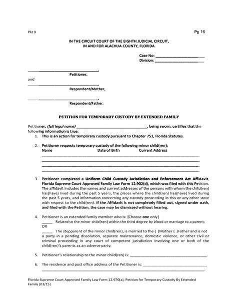 temporary custody form forms for a petition for temporary custody florida free download