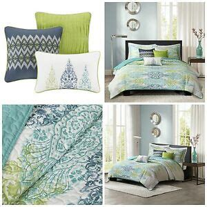 Green Coverlet King by King Size Blue Green Abstract Quilted Coverlet Set Bedding