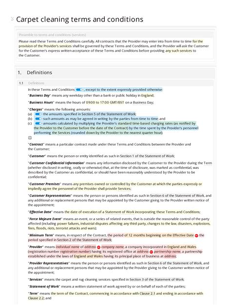 carpet cleaning terms  conditions docular