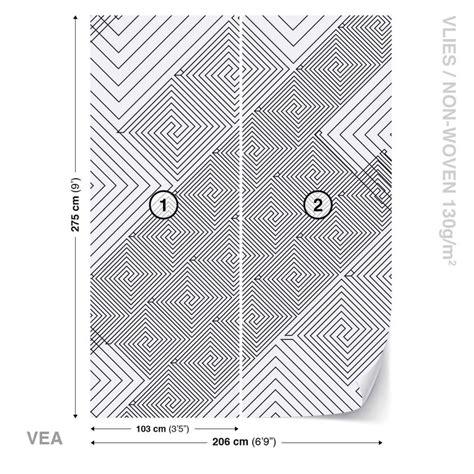Fototapete, Tapete Abstrakt Muster Schwarz Weiß Bei