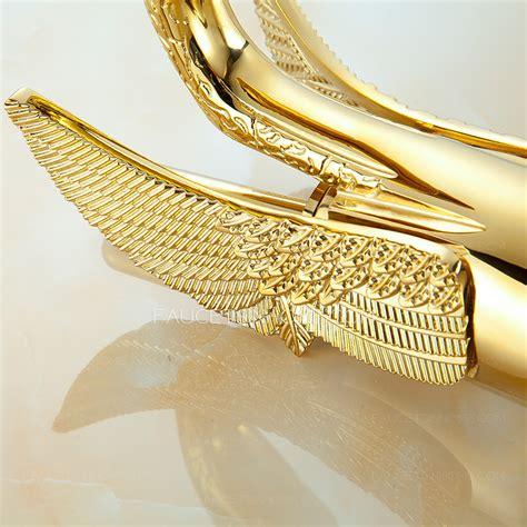 luxury gold swan design vessel bathroom sink faucet