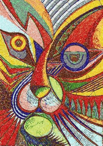 abstract cat photo stitch  machine embroidery design