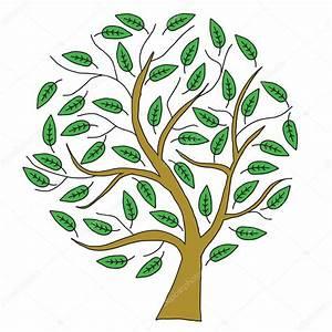 Árbol de dibujo marrón con hojas verdes Foto de stock