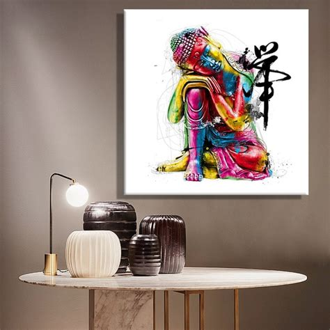 Paintings Home Decor by Framelessoil Paintings Canvas Colorful Buddha Sitting Wall