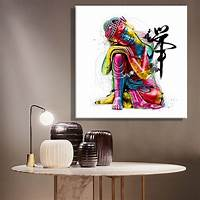 artwork for home FRAMELESSOil Paintings Canvas Colorful Buddha Sitting Wall Art Decoration Painting Home Decor On ...