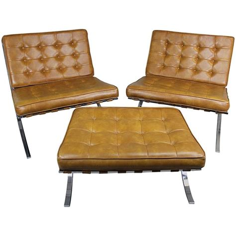 early barcelona style lounge chairs and ottoman at 1stdibs