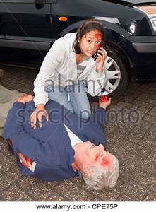 Injured woman and dead body after a car accident Stock ...