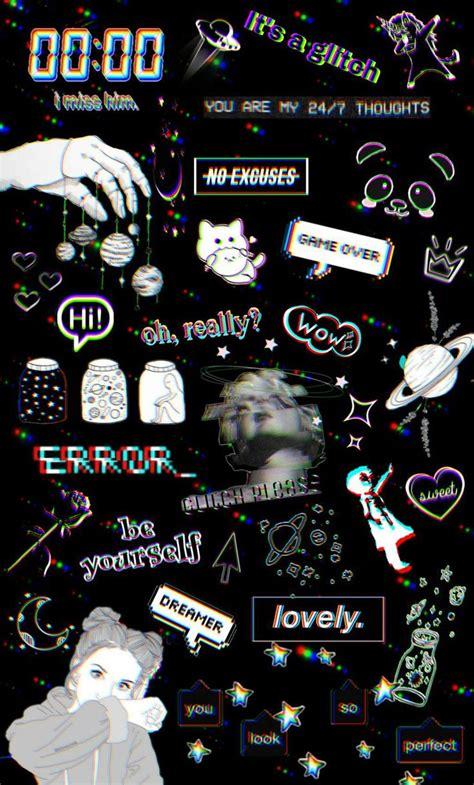 looks aesthetic though glitch wallpaper emoji