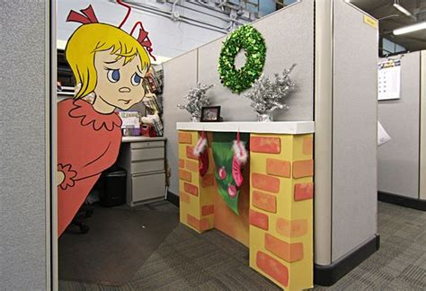 christmas garage door decor christmas office cube
