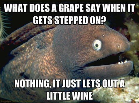 Bad Joke Eel Meme - what does a grape say when it gets stepped on nothing it just lets out a little wine quickmeme