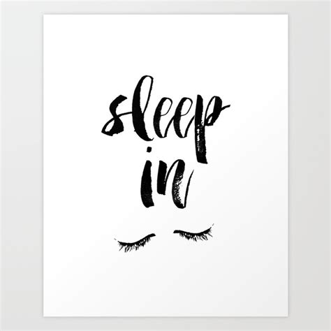 sleep in black and white watercolor typography print art print by the motivated type society6