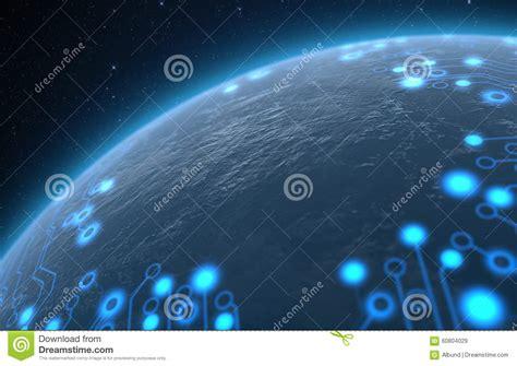 Planet With Illuminated Network Stock Illustration - Image