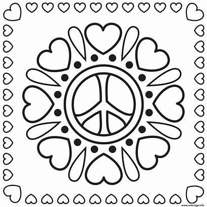 Peace Coloring Signs Amour Paix Mandala Hearts