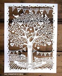 family tree first wedding anniversary papercut template With paper cut family tree template