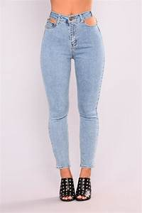 Holdin Me Back Cut Out Jeans - Light Blue