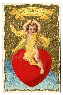 vintage valentine clip art cherub riding giant heart