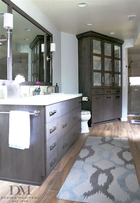 gray bathroom wood tile concrete trough sink design
