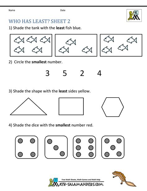 printable kindergarten math worksheets comparing numbers