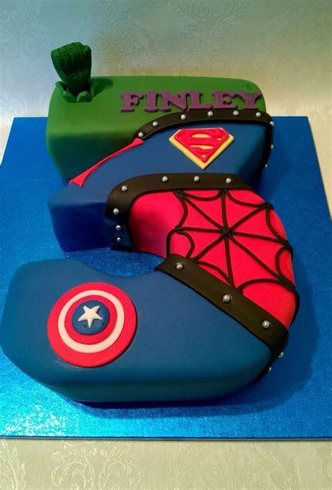 number  shaped superhero cake ashton  superhero cake