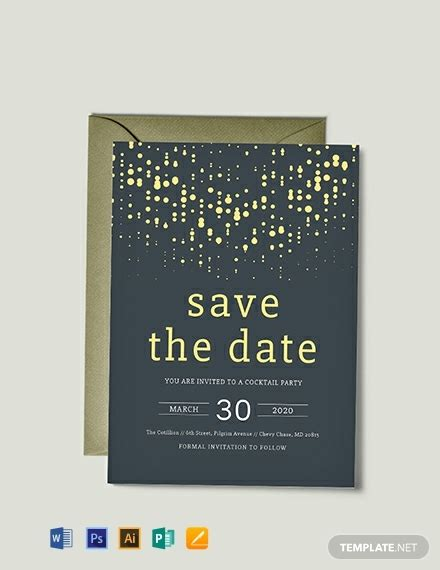 save  date party invitation template word psd