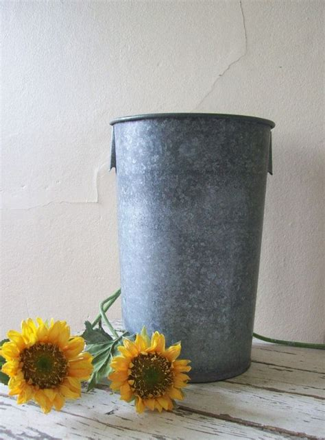 Vintage Sap Bucket Garden Container Metal Flower