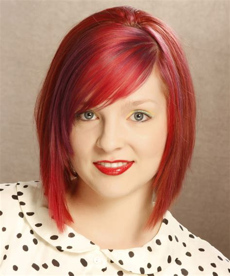 Bright Hairstyles by Medium Layered Bright Bob Haircut With Side