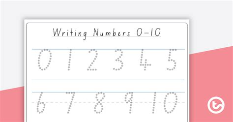 writing numbers   dotted font teaching resource