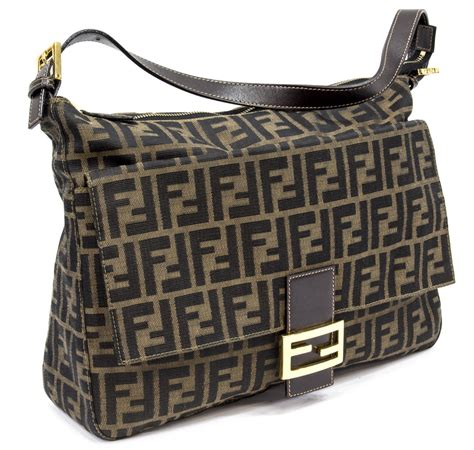 fendi monogram canvas leather trim shoulder bag spring