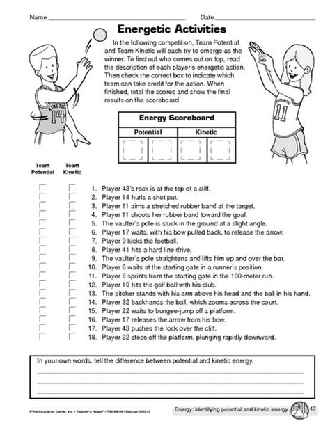 Forms Of Energy Worksheets For Middle School  Energy Transformation Activity Middle School 1000