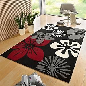 Teppich Rot Schwarz : designer velours teppich flora schwarz rot 102403 ~ Pilothousefishingboats.com Haus und Dekorationen