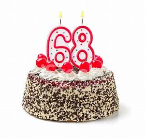 Birthday Cake With Burning Candle Number 68 stock photos