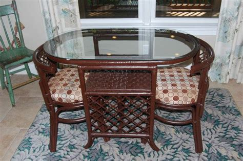 vintage rattan dinette table  chairs