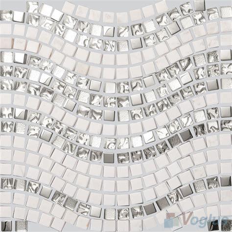 silver metal white marble wavy waist line glass mosaic