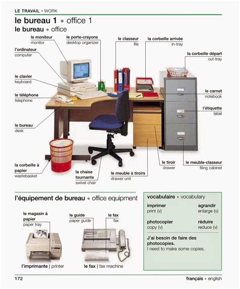 vocabulaire bureau for newbies le travail fle vocabulaire