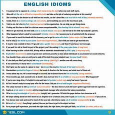 Idiom 1500+ English Idioms From Az With Examples  7 E S L