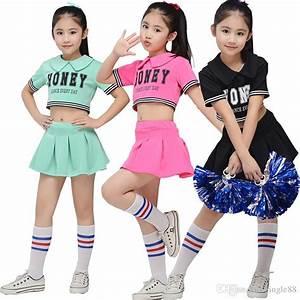 2018 Children Cheerleading Dancewear Costume Kids Pink ...