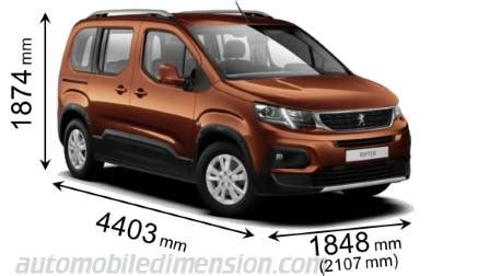 peugeot rifter dimensions car dimensions of all makes with size comparison tools