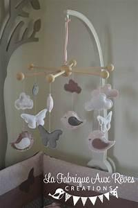 Mobile Bébé Nuage : mobile b b veil oiseaux papillons nuage rose poudr vieux rose gris blanc d coration chambre ~ Teatrodelosmanantiales.com Idées de Décoration