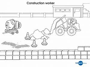 Construction Worker Printables Colouring Pages