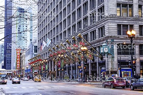 macys christmas decorations in chicago stock photo more